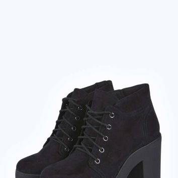 9db26233fdc Jordan Lace Up Cleated Block Heel Hiker from boohoo