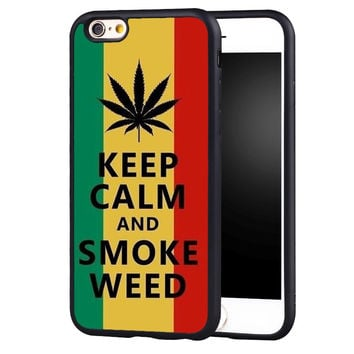 Keep Calm And Smoke Weed Printed Soft TPU Mobile Phone Cases Accessories For iPh