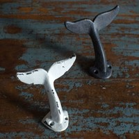 Oversized Whale Tail Wall Hooks - Set of 2 - Antique Weathered Hangers for Coats, Aprons, Hats, Towels, Pot Holders - Black and White