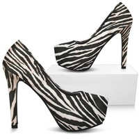 Zebra Print High Heel Shoes Pink Hue