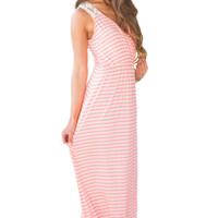 Pink White Stripes Sleeveless Lace Back Maxi Boho Dress