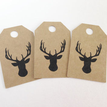 25 Kraft Deer Head Favor Tags -  Hang Tags, Gift Tags, Die Cuts -  2.0X1.25 inch - Birthday, Wedding, Baby Shower, Christmas