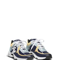 Sneakers, calfskin & patent calfskin, navy blue, light gray, light yellow, white & light blue - CHANEL