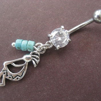 Kachina Belly Button Ring Jewelry- Turquoise Stone Beaded Kokopelli Native American Indian Charm Dangle Tribal Navel Piercing