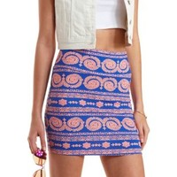 Blue Combo Paisley Print Bodycon Mini Skirt by Charlotte Russe