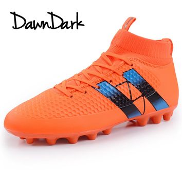 2018 New Men Football Shoes High Ankle Boys Man Soccer Shoes Leather Big Size Summer Male Soccer Cleats Training Sneaker