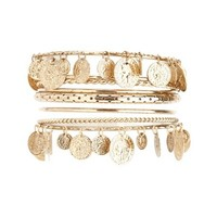 THIN GOLD COIN BANGLES - 8 PACK