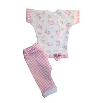 Baby Girls' Sweet Cow Pink Gingham Clothing Outfit