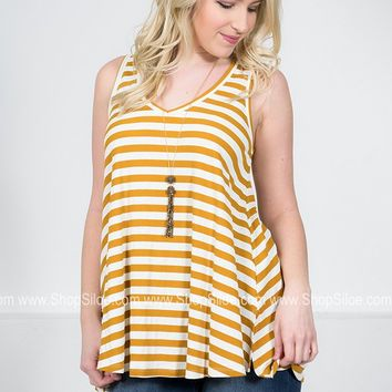 Dusty Striped Sleeveless Top | Gold