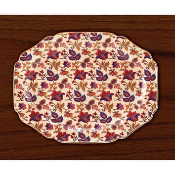 Jaipur Cream Garnet Sapphire Gold Rim Serving Platter Tray