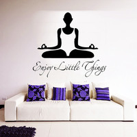 Yoga Wall Decal Quote Vinyl Decals Enjoy Little Things Yoga Studio Decor Relax Stickers Home Interior Design Art Girls Bedroom Decor M778