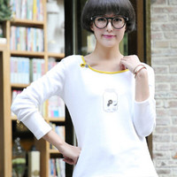 Jar Buttoned Patchwork Long Sleeve T-Shirt