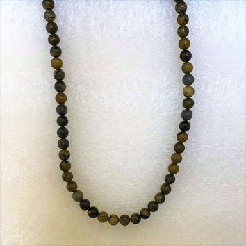 Brown Jasper Beaded Mens Necklace