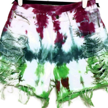 Tie Dye High Waisted Shorts Green Teal Purple Frayed by twazzy