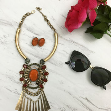 Long Red & Orange Statement Necklace