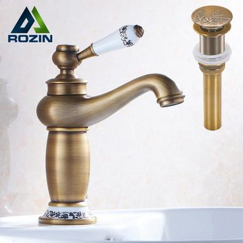 Single Handle Vintage Bathroom Faucet Deck Mounted One Hole Basin Mixer Taps Brass Pop Up Drain Without Overflow