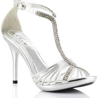 """Ellie Shoes Majestic 4"""" Strappy Open Toe W-crystals Silver Seven"""