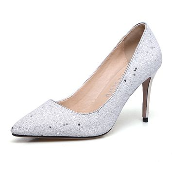 Pointed Toe High Heel Stiletto Pumps Wedding Shoes Woman 8073