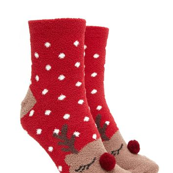 Fleece Reindeer Socks
