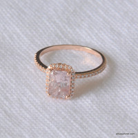 2.05 carat Unheated peach champagne sapphire, Rose gold, diamonds halo engagement ring JOAN-931P