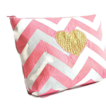 Cosmetic Bag // make up pouch // pink and white chevron // Zippered pouch// Gold Heart // Polka Dot Glitter Lining
