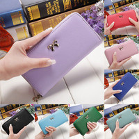 New Cheap Women PU Leather Clutch Wallet Long Card Holder Case Purse Bag Handbag
