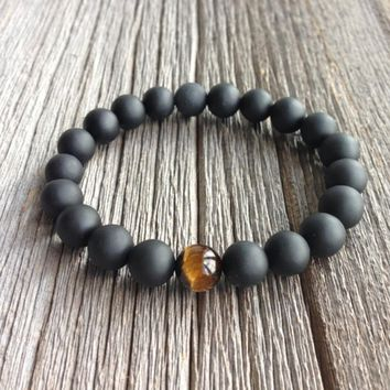 Belle Noel Handmade High Quality Beads Bracelets With One Tiger Eye Bead for Men's by Ritzy