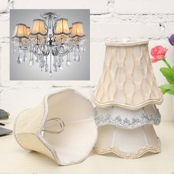 Lace Small Lampshade Cotton Textured Fabric Drum Shade Table Ceiling Light Cover Home Decor