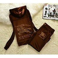 """Burberry"" Women Letter Long Sleeve Hoodie Sweater Trousers Set Two-Piece Sportswear Brown I-ALNZ"