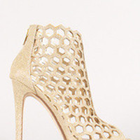 Women's Metallic Glitter Hexagon Cut Out Peep Toe Bootie