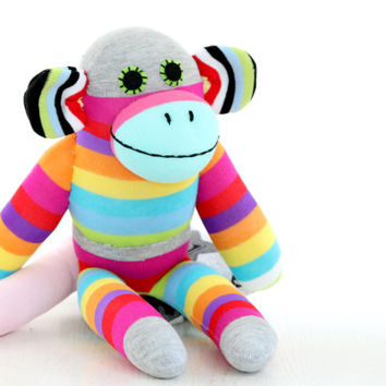 T8 Stuffed  monkey   toy , plush girl doll , baby stuffed toy - handmade fabric doll   Easter Toy  Summer   gift  2#