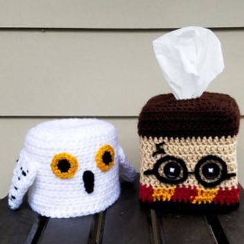 Harry Potter and Hedwig the Owl Themed Tissue Box And Toilet Paper Roll Cozy Decor