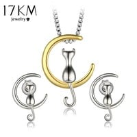 17KM Fashion Cat Jewelry Sets Gold Color Statement Necklace Sets for Women News Bridal Wedding Alloy Earrings Party Jewelry