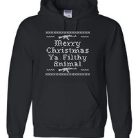 Guys - You make it rock! - Adult Merry Christmas Ya Filthy Animal Home Alone Inspired Hooded Sweatshirt Hoodie