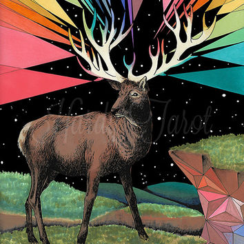 Stag Art Print - Forces Flora + Fauna,  Oracle,  Original Art Print, Drawing Psychedelic Art, Stag, Deer, Buck, Wall Art, Poster