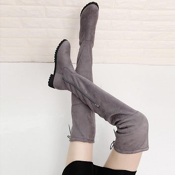 Hot Deal On Sale Plus Size Flat Zippers Stretch Boots [120849530905]