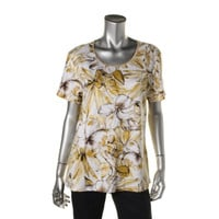 JM Collection Womens Knit Floral Print Pullover Top