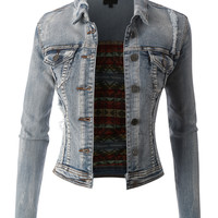 LE3NO Womens Vintage Cropped Denim Jean Jacket with Pockets
