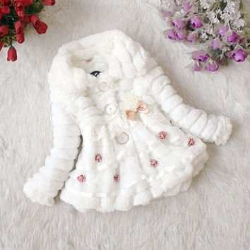 Baby Toddlers Girl Faux Fur Fleece Coat Kids Winter Warm Jacket Outwear Clothing [8403190023]