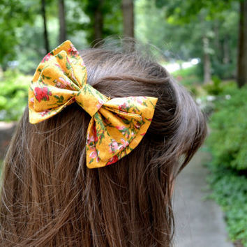 Mustard Floral Bow