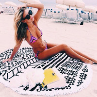 Serviette Printed Round Beach Towels With Tassel