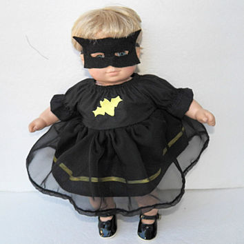 "bitty baby clothes, girl or twin 15"" doll, bat girl costume, black yellow, peasant dress, mask, adorabledolldesigns handmade, halloween"
