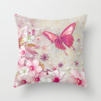 Whimsical Elegant Pink Flowers Butterfly Art Chic and Sophisticated Throw Pillow by Megan Aroon Duncanson ~ MADART
