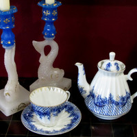 Cobalt Blue Rhapsody Lomonosov Russian Imperial Tea Set, Tenderness, Tea for 1, Teapot, Cup and Saucer