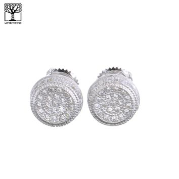 Jewelry Kay style Men's Iced Out Sterling Silver Pave Double Round CZ Screw Back Earrings SHS 482S