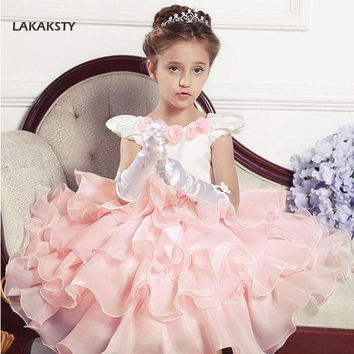 LAKAKSTY Baby Girl Flowers Dress Princess Kids Party Wear Children Pageant Dresses Toddler Evening Gown Kids Performance Costume