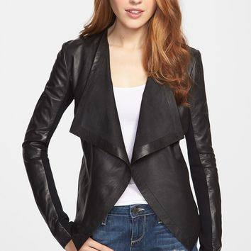 Halogen 'Waterfall' Leather Jacket (Regular & Petite)