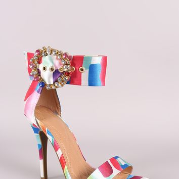 Anne Michelle Printed Jewels Embellished Buckle Ankle Strap Heel