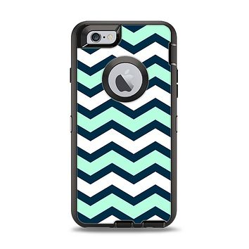 The Teal & Blue Wide Chevron Pattern Apple iPhone 6 Otterbox Defender Case Skin Set