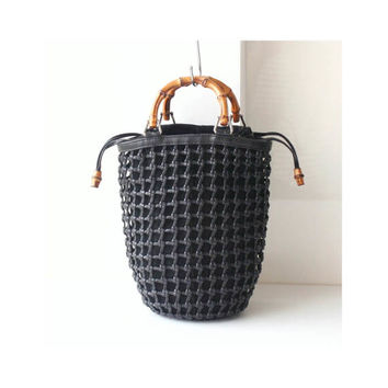 c027399fd879 Gucci bamboo Leather suede woven net tote handbag authentic vint
